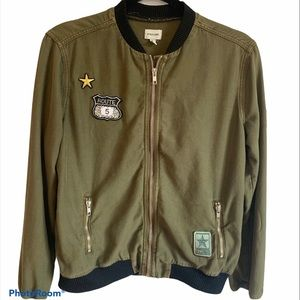 Army green utility, bomber jacket with patches
